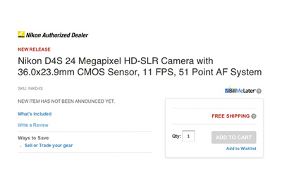 Adorama Trigger Happy, Published Nikon D4s HD-SLR Specs on Since-Deleted Page