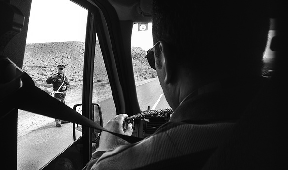 A roadside police checkpoint in Morocco near the Algerian border. Photo by Hillary Fox.