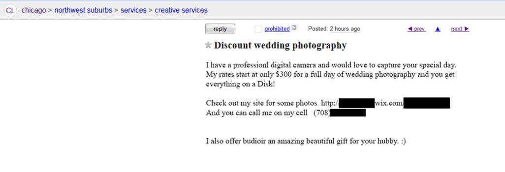 Craigslist discount wedding photography ad