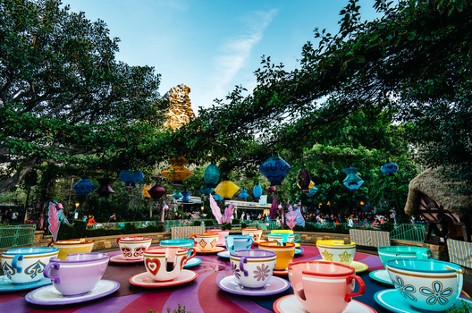 Teacup ride with Matterhorn in distance at Disneyland in Anaheim California taken by Leica T