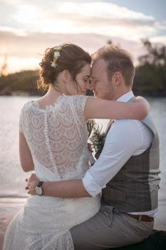 wedding at beach at sunset