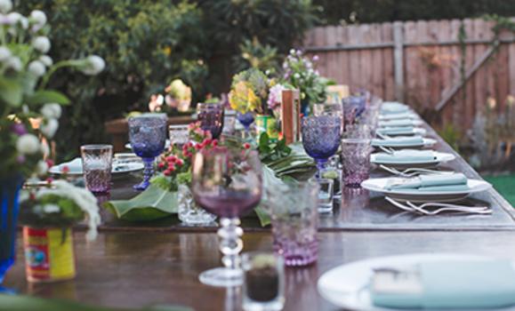 Table setting for backyard wedding