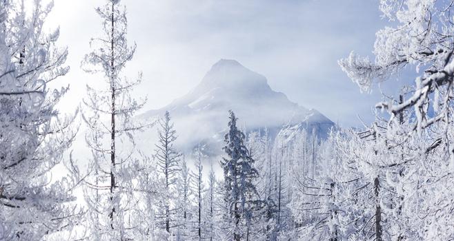 Wintertime view of Mt. Hood in Oregon