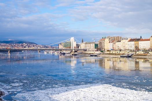 Frozen Danube river, Budapest