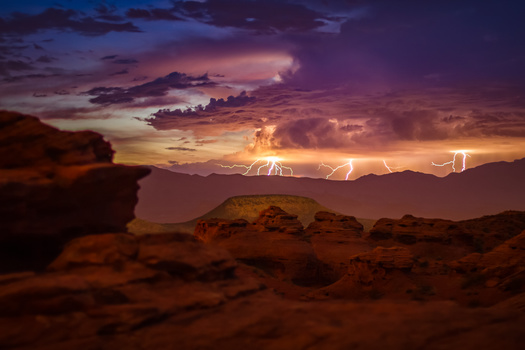 dusk shot of lightning taken in southern utah