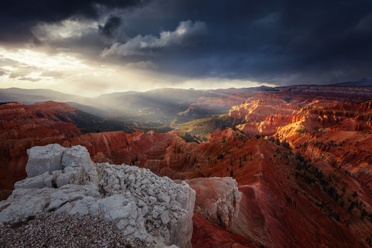 sunset storm shot of cedar breaks in southern utah