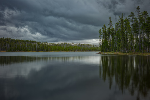 shot of ice lake on a cloudy day in yellowstone national park