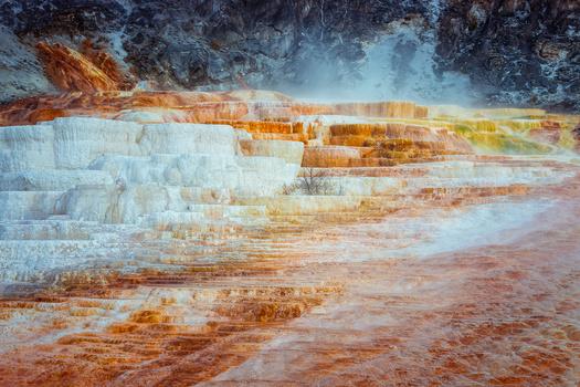 close up shot of water formations at mammoth hot springs.