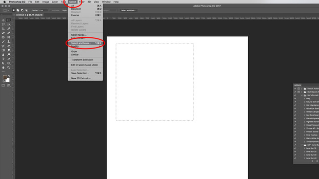 A screenshot displaying the Select And Mask tool in Adobe Photoshop CC 2017.