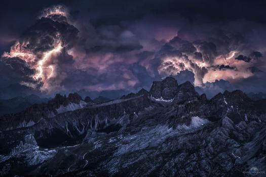 Intense Lightning over Cinque Torri, Dolomites