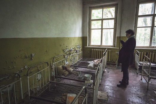 One of the abandoned villages on the outskirts of the Exclusion Zone. Image by Andy Day.