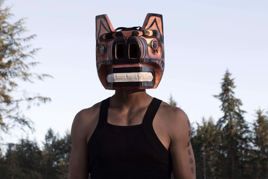 Northwest coast style mask for dancing. Taken by Gabrielle Colton