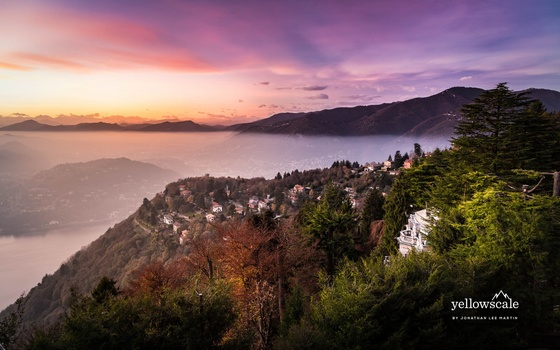 A sea of fog from the hill town of Brunate, overlooking Lago di Como in northern Italy.