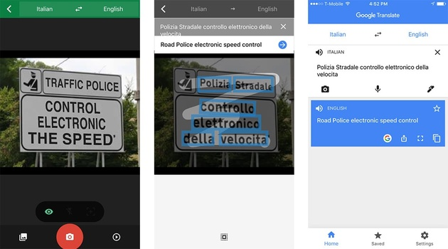 Google Translate with the camera, previously Word Lens