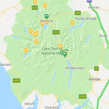 Lake District in Google Maps Hybrid View