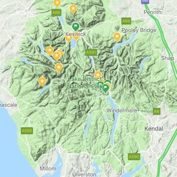 Lake District in Google Maps Terrain View