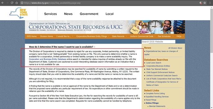 Screenshot of NY State Division of Corporations