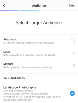 Manual audience created by armitage for promotion on instagram