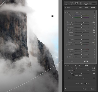 Selecting the erase brush within the Radial Filter