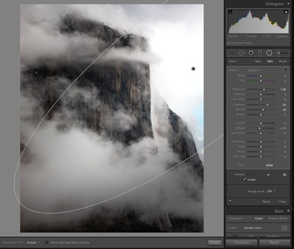 Adjusting radial filter settings to change your lighting