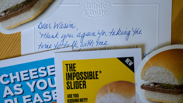 Coupons and a hand-written note from White Castle's Vice President of Marketing. A positive response after a social media interaction was handled poorly.