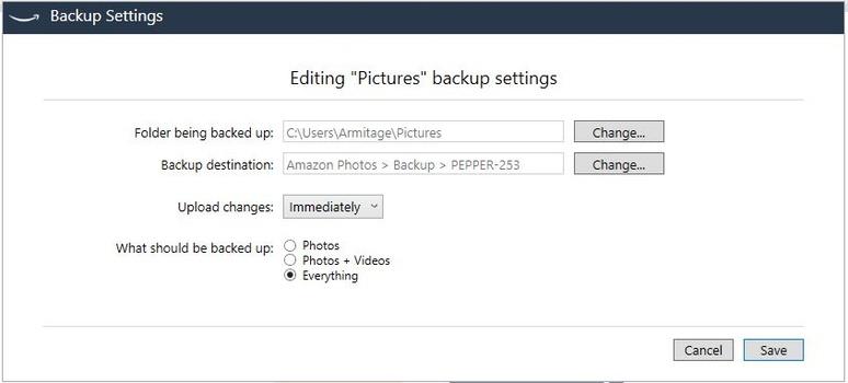 Scheduled Folder Backup Settings
