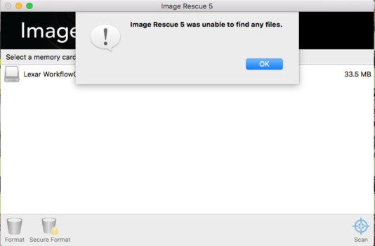 Screenshot of Image Rescue Software for memory card recovery