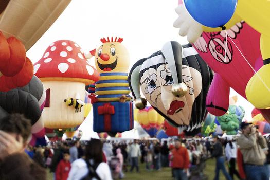 hot air balloons preparing to take off for Balloon Fiesta.