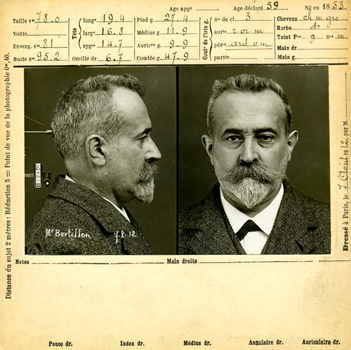 a creative commons historial photo of a mugshot by famous photographer Alphone Bertillon.