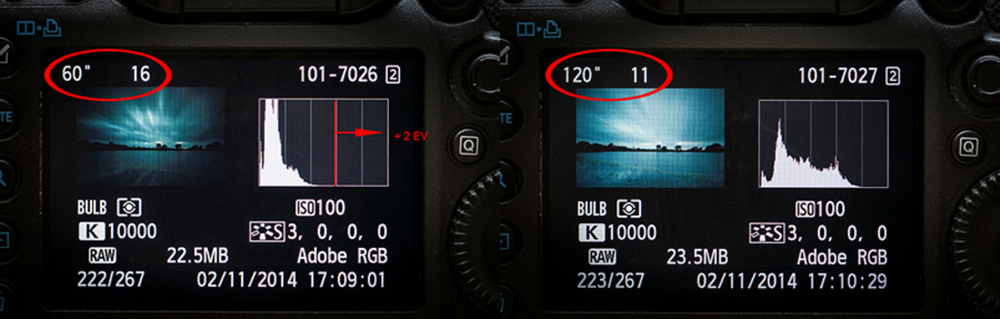 Using a ten stop neutral density filter can be tricky when determine the proper exposure time. The photo on the left is too dark and the histogram shows there is an improvement of two stops possible. Reading the histogram makes it possible to correct this