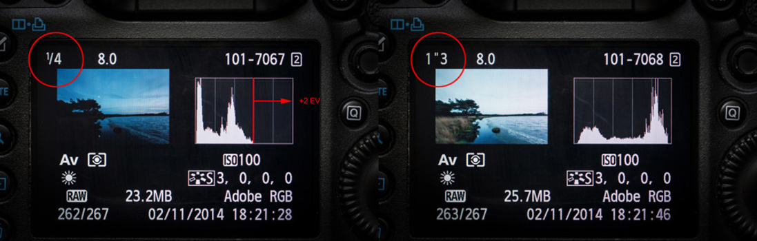 This landscape image during twilight at the left has an exposure for the sky. But the foreground is under exposed. By looking at the histogram we see room for a two stop correcting. Although the sky looks too bright, the highlights are within the dynamic
