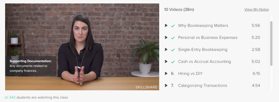 Bookkeeping knowledge from Skillshare