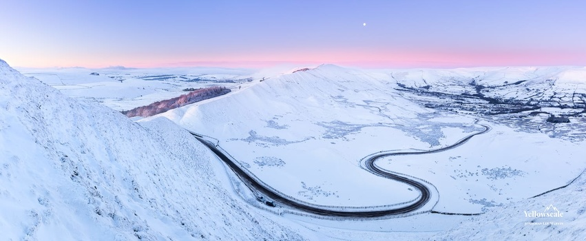 Snow-covered Mam Tor in the Peak District.