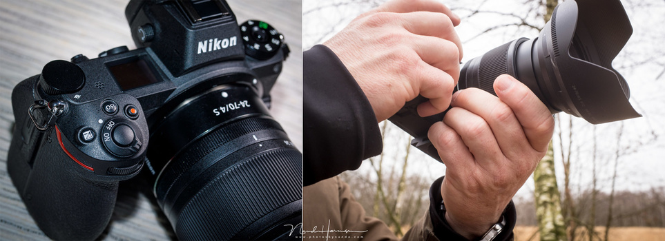 The Nikon has a secure grip and feels very comfortable.