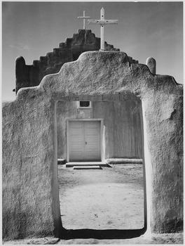 Ansel Adams front view of church taos pueblo national landmark