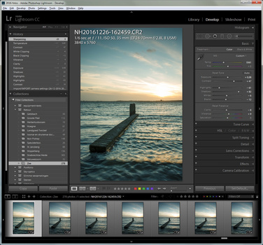Every image of the series must receive the same post processing. This is made very easy in Lightroom by synchronizing settings.After importing all images in Lightroom, you can do the post processing you always do. But be careful with Lens profiles. Disabl