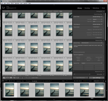 Every image of the series must receive the same post processing. This is made very easy in Lightroom by synchronizing settings.