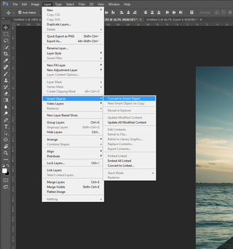 Transform all layers into a Smart Object. This can take a while so grab a coffee during the wait. How long you need to wait depends on the amount of layers, the speed of your computer, and the dimensions of your photos