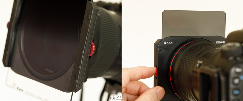 The Kase K100-Slimline filter holder has a red wheel that makes it possible to rotate the polarization filter when ND or GND fitlers are installed. The rotation is smooth and easy.