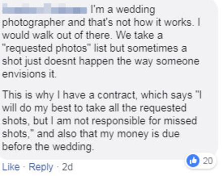 A social media comment screenshot
