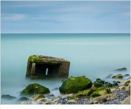 Remains of world war two at the coast of France during high tide. A long exposure made a smooth sea surface (EOS 5D mark IV + EF100-400L @ 100mm | ISO200 | f/11 | 120sec with Haida ND32000 (15 stops))