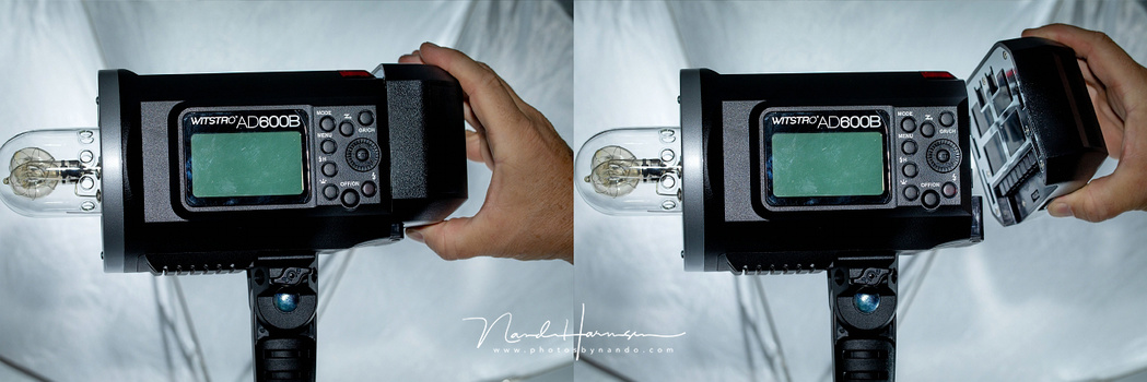 The battery of the Godox is large, but it holds a lot of power. To be able to plug in the power cord and continu to use the flash is the beauty of it. It is something I am missing with the Profoto B1 flash.