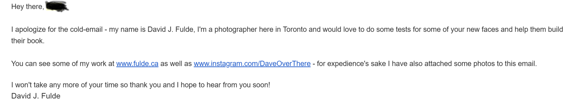 An example email I've sent to the person responsible for the New Faces board at a local agency