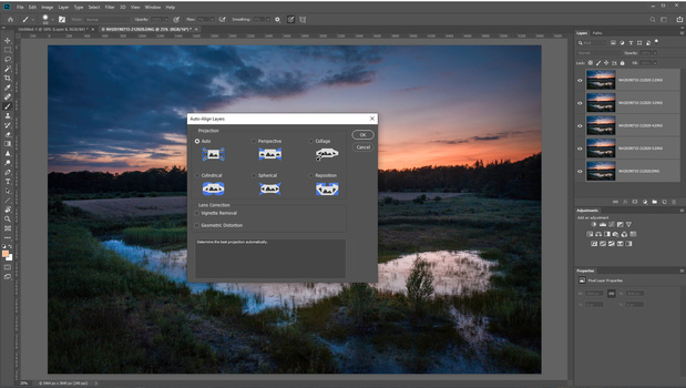 Select all layers and choose auto-align from the menu. This may be unnecessary for photos made from tripod. Because these are made with a drone, a slight misalignment may be present.