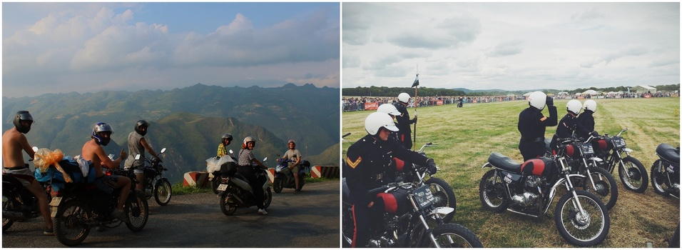 Dyptich of motorcycle riders