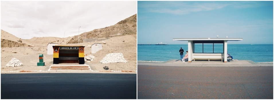 Diptych of two bus shelters