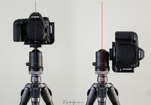 With a regular camera plate it is necessary to flip the camera to the side, placing it next to the tripod. Unless you use a sturdy tripod, the setup may become unstable. You also need to correct the composition offset.