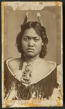 Vintage portrait of a Māori woman