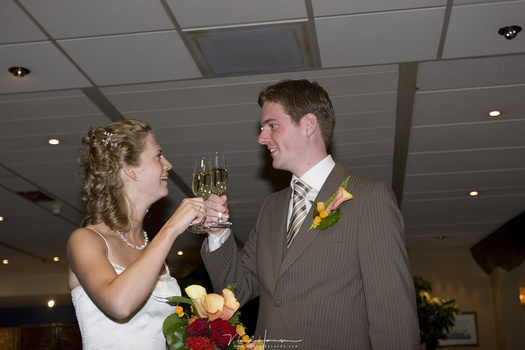 An example of the wrong use of an on-camera flash, with harsh light, light fall off and ugly shadows.