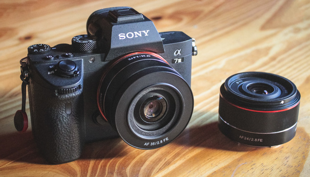 The unbelievably compact Samyang/Rokinon 35mm and 24mm f/2.8 prime lenses for Sony full-frame cameras.